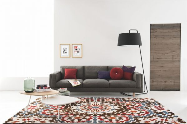 Grey Fabric Lounge with Calligaris Marocco Rug